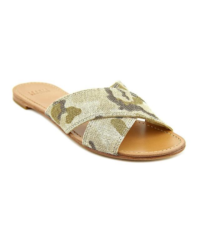 Stuart Weitzman Byway Open Toe Canvas Green Slide Sandals