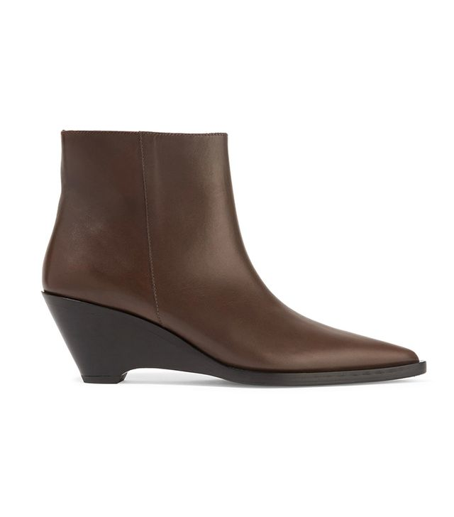 - Cony Leather Wedge Ankle Boots - Chocolate
