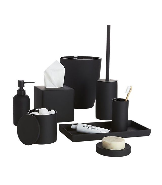CB2 Rubber Coated Black Bath Accessories