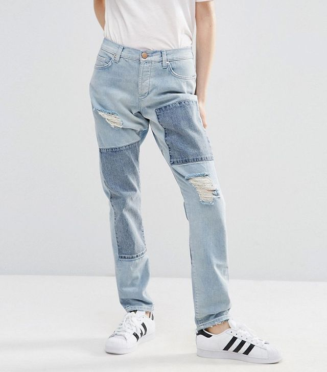 ASOS Brady Patched Boyfriend Jeans