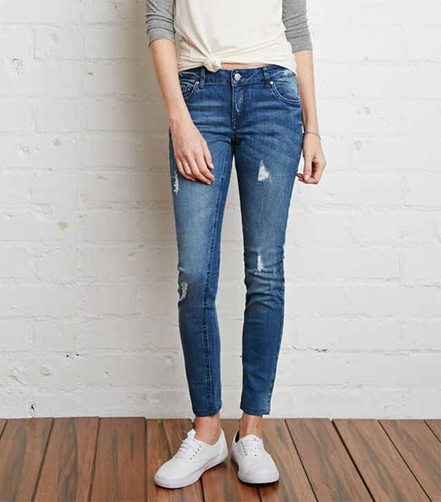 Forever 21 Low-Rise Distressed Skinny Jeans