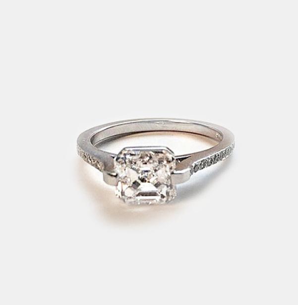 Handmade Platinum Ring With Pave Shank