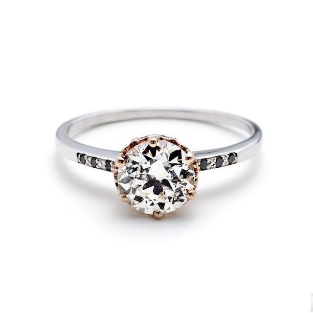 Anna Sheffield Hazeline Solitaire Ring in White Diamond