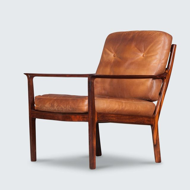 Ole Wanscher Danish Armchair in Tan Leather with Rosewood Frame By Ole Wanscher