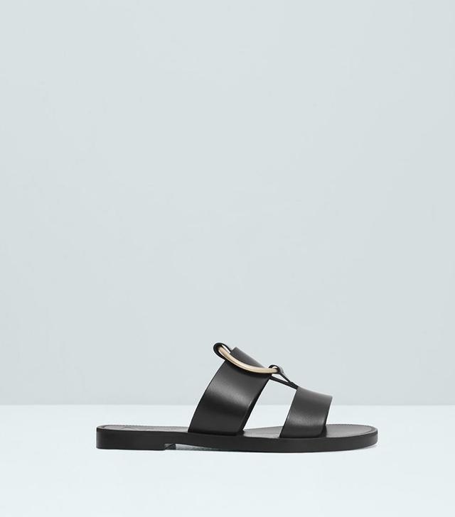 Mango Appliqué Leather Sandals