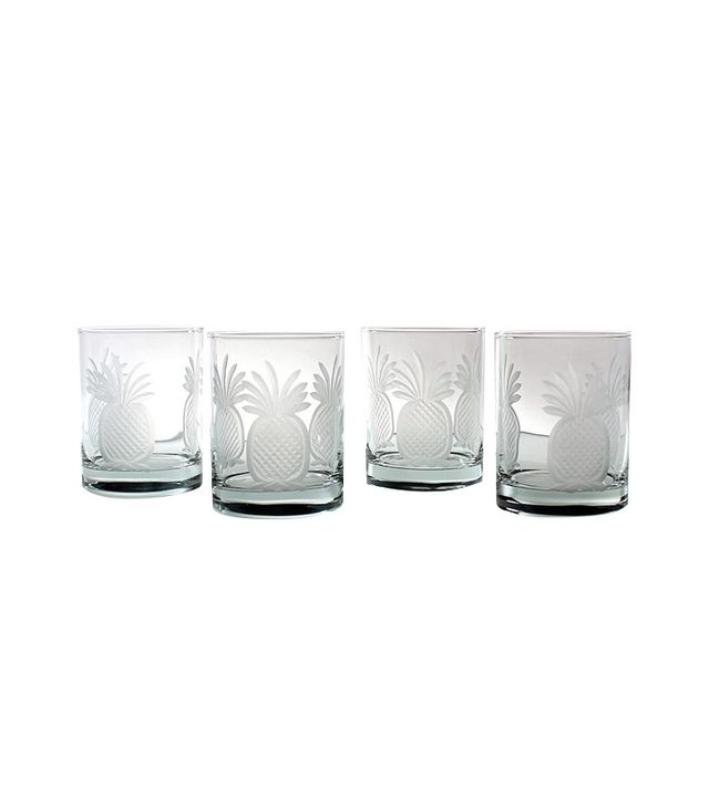 Rolf Glass Pineapple Double Old-Fashioned Glass Set