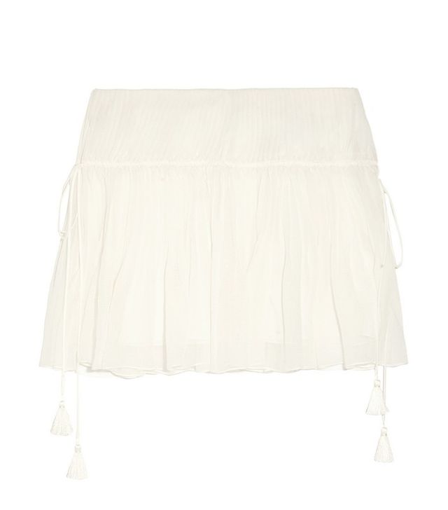 Chloé Pleated Silk-Crepon Mini Skirt
