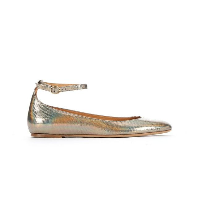 Isabel Marant Gold Holographic Leather Baby Jane Ballet Flats
