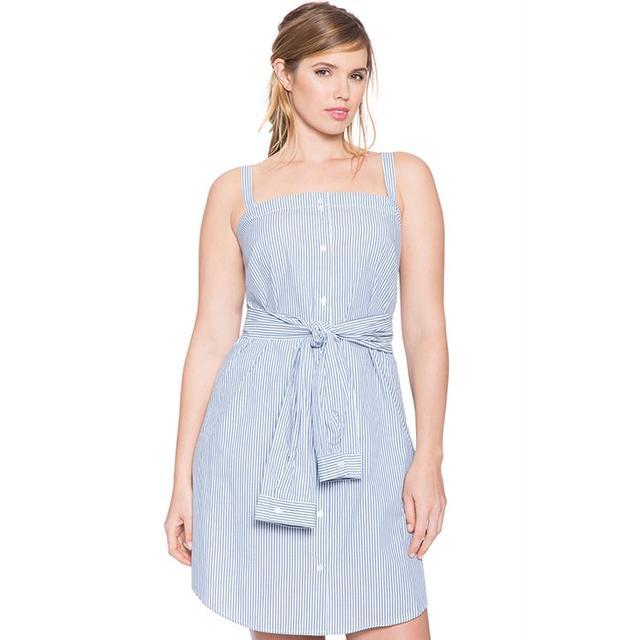 Eloquii Tie Waist Oxford Shirt Dress