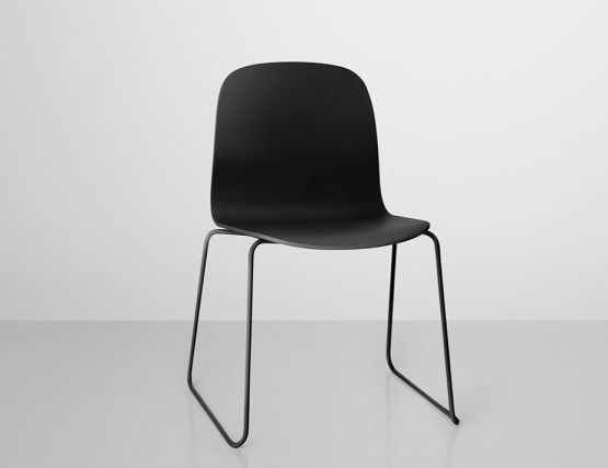 Muuto Visu Chair with Wood Seat & Sled Base by Mika Tolvanen in Black