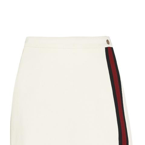 Stripe-Trimmed Jersey Mini Skirt