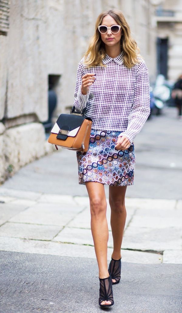 Have a crazy miniskirt in your closet? Play off the pattern bychoosing a top witha contrasting print.