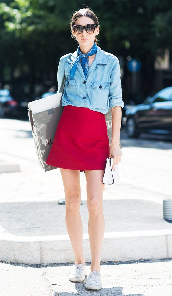 Complement asolid-colored skirt with textured add-ons like this chambray top and knotted bandana. Find out where to buy the best T-shirts under £50.