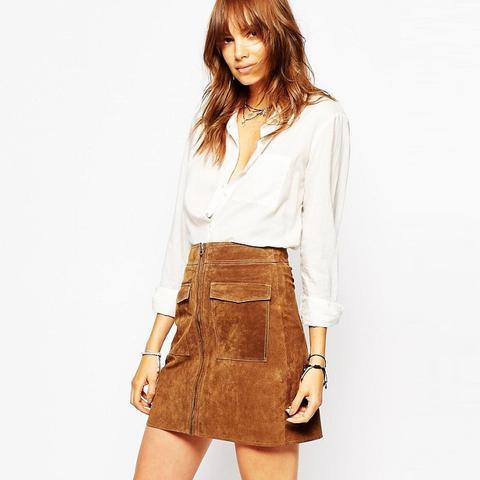 Zip Front 70s Suede Skirt