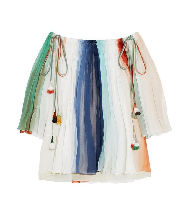 Chloé Off-the-Shoulder Striped Silk Georgette Top