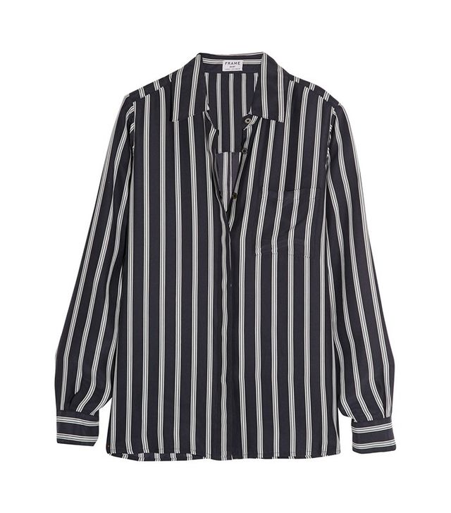 Frame Denim Le Boyfriend Striped Silk-Charmeuse Shirt
