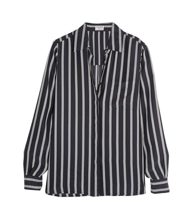 Frame Denim Le Boyfriend Striped Silk-Charmeuse Shirt