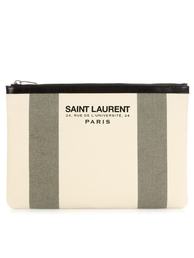 Saint Laurent Beach Leather-Trimmed Printed Canvas Pouch