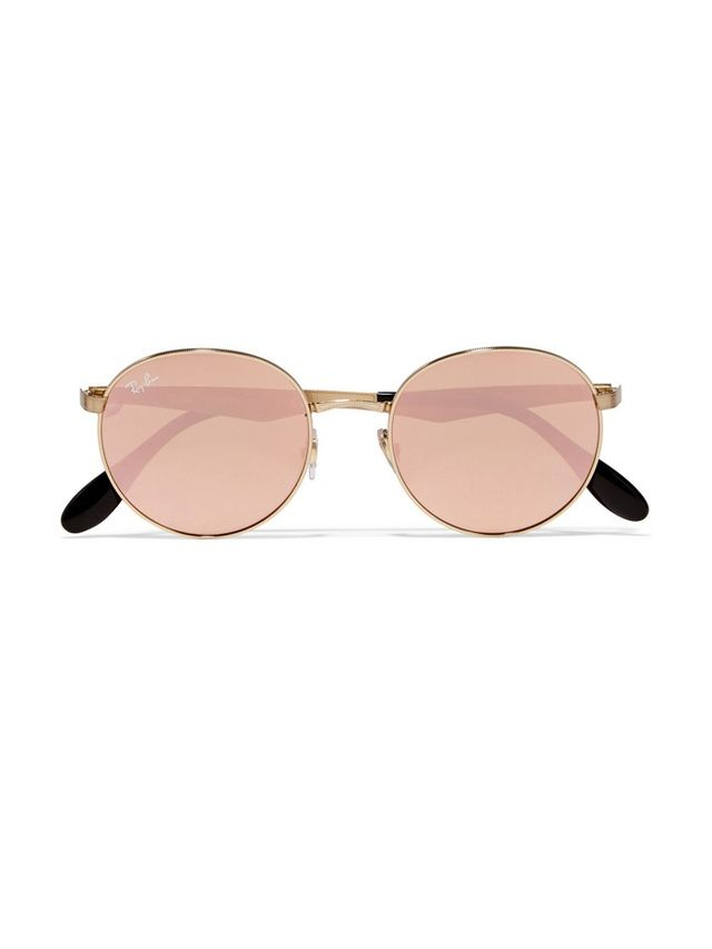 Ray-Ban Round-Frame Gold-Plated Mirrored Sunglasses