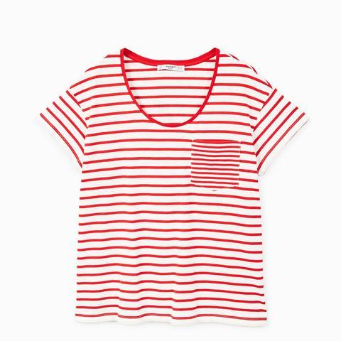 Chest-Pocket Striped T-Shirt