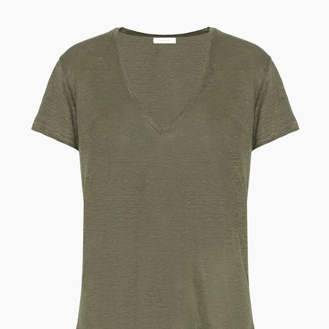 Linen V-Neck in Army