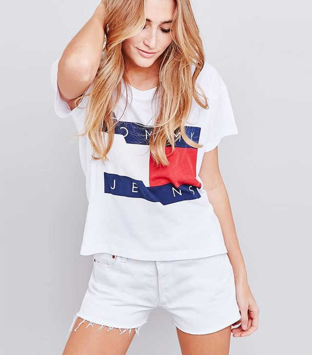 Tommy Jeans Cropped Square White T-shirt