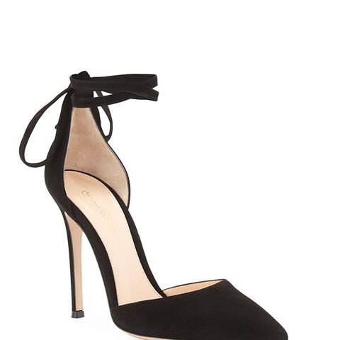 Suede Pointed-Toe Ankle-Wrap Pump