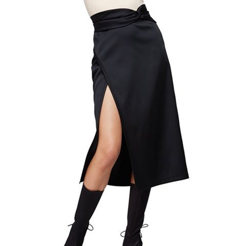 Satin Knotted Tea-Length Skirt