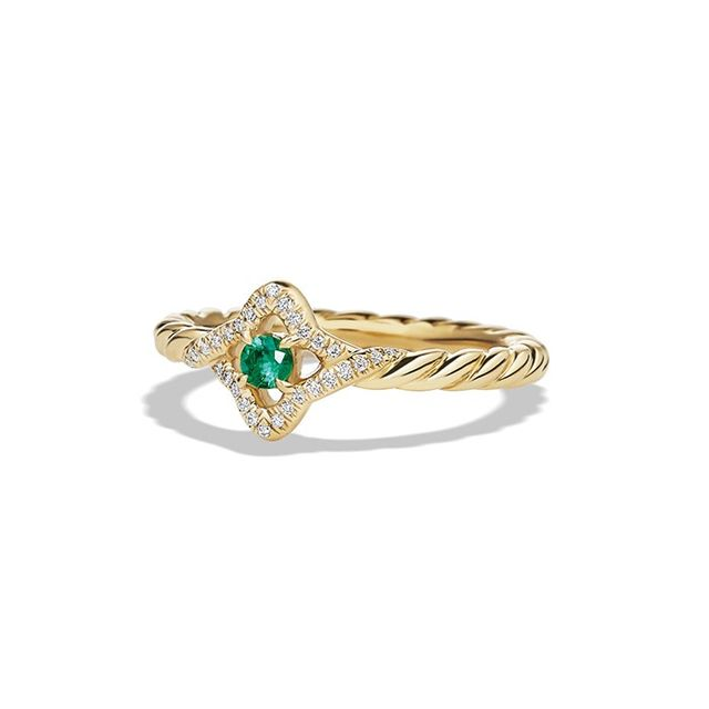 David Yurman Venetian Quatrefoil Collection® Ring in 18K Gold with Emerald and Diamonds
