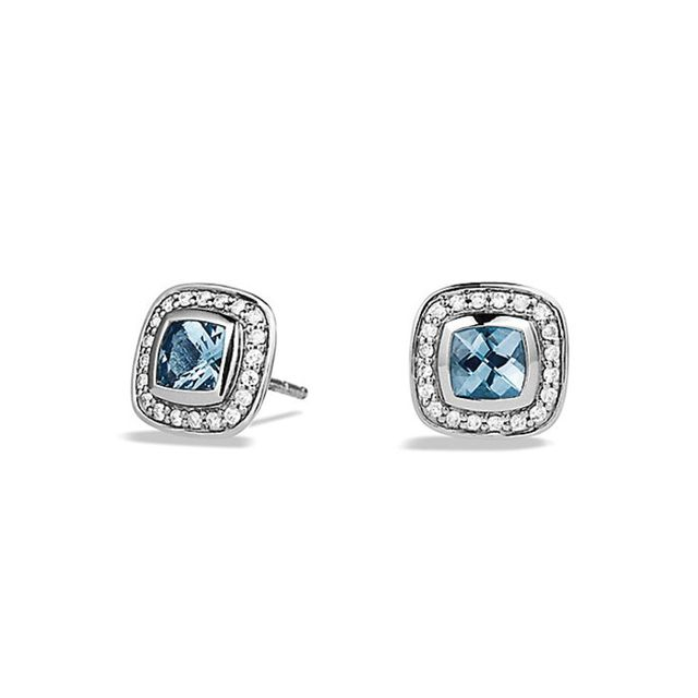 David Yurman Petite Albion® Earrings in Sterling Silver with Blue Topaz and Diamonds