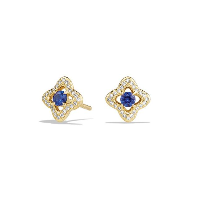 David Yurman Venetian Quatrefoil Collection® Earrings in 18K Gold with Blue Sapphires and Diamonds