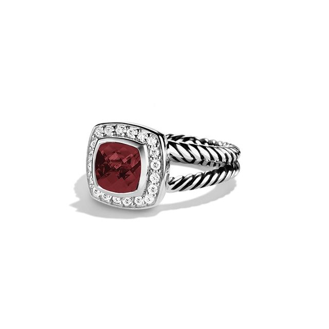 David Yurman Petite Albion® Ring in Sterling Silver with Pyrope Garnet and Diamonds