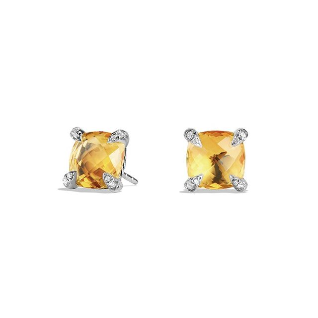 David Yurman Châtelaine® Earrings in Sterling Silver with Citrine and Diamonds