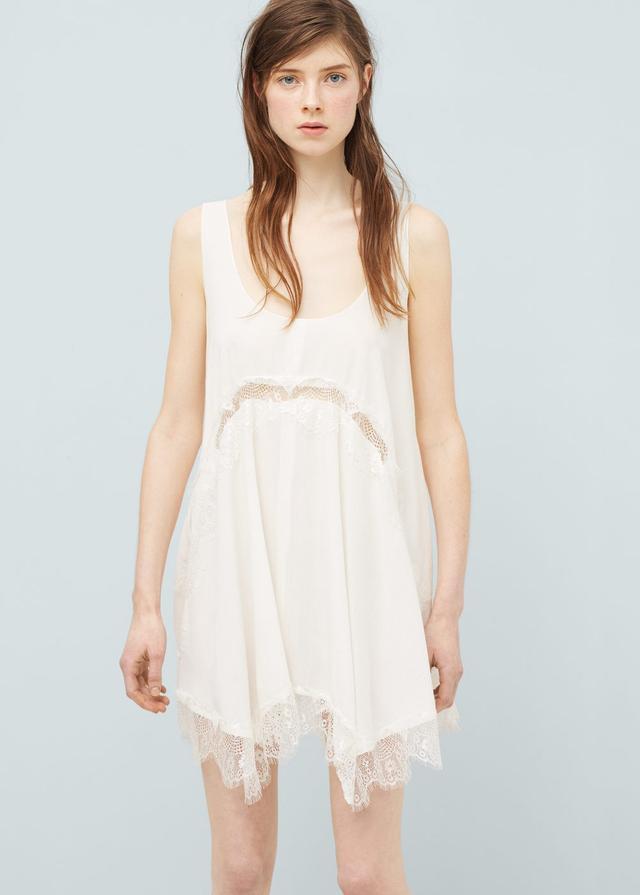 Mango Blond-Lace Appliqué Dress