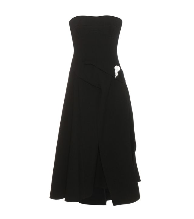 Victoria Beckham Corset Flare wool dress with brooch