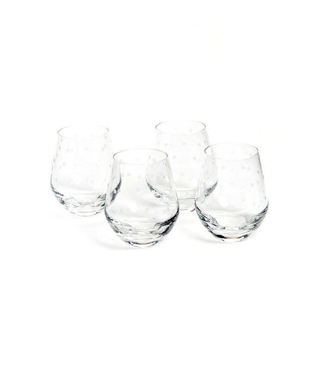 Kate Spade New York Larabee Dot Stemless White Wineglasses Set