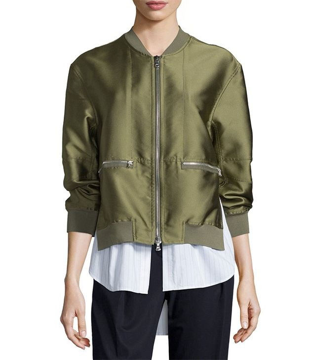 3.1 Phillip Lim Ribbed-Trim Satin Bomber Jacket