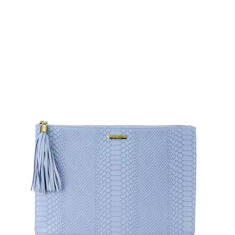 Uber Python-Embossed Leather Clutch