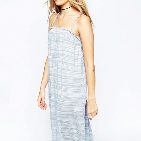 High Neck Ruffle Edge Summer Maxi Dress