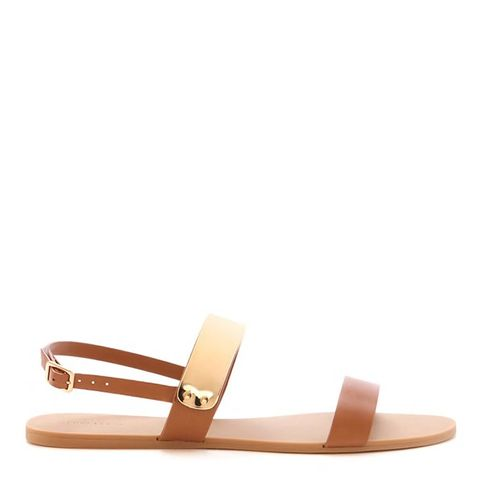 Plated Faux Leather Sandals