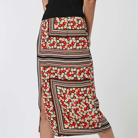 Floral Stripe Midi Skirt