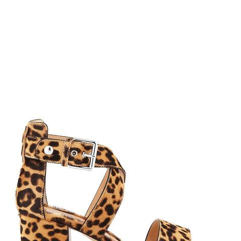 Leopard-Print Calf Hair Low-Heel Sandal