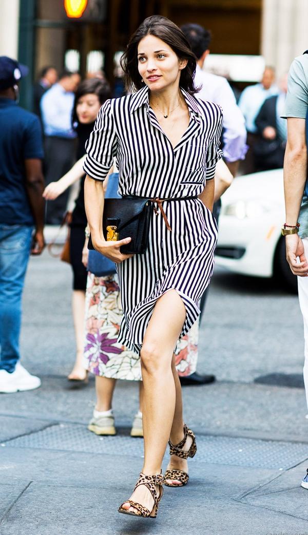 Shirtdress + Leopard-Print Sandals + Black Bag