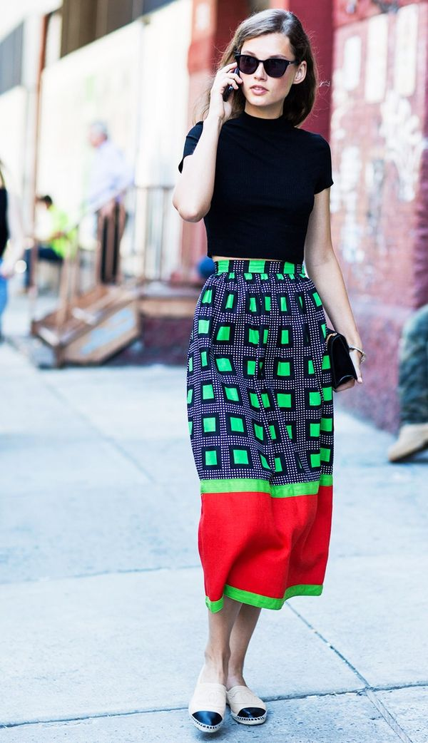 Crop Top + Midi Skirt + Espadrilles