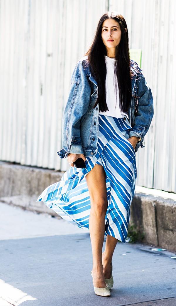 Denim Jacket + T-Shirt + Striped Skirt