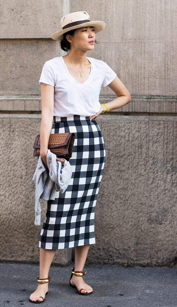 Straw Hat + T-Shirt + Gingham Skirt