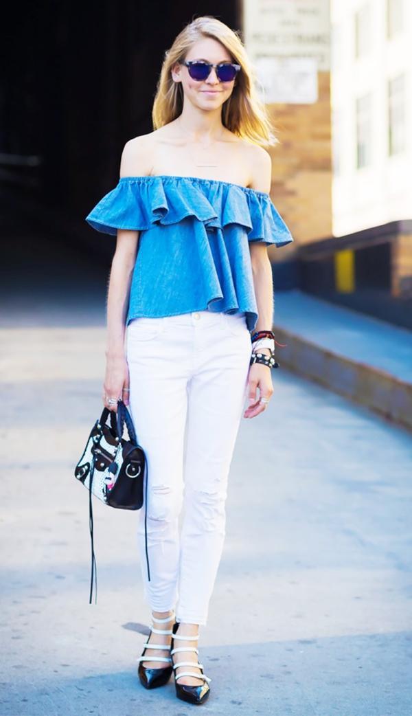 Off-the-Shoulder Top + White Jeans + Patent Pumps