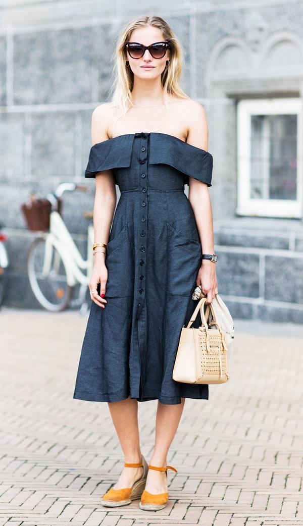 Off-the-Shoulder Dress + Espadrilles