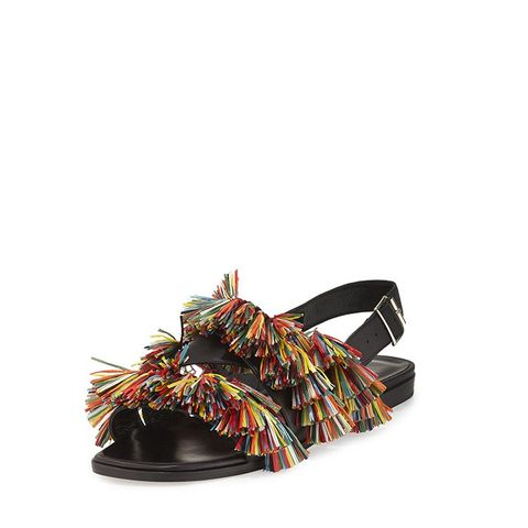Cuture Fringe Flat Slingback Sandals
