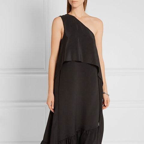 One-Shoulder Silk Crepe de Chine Midi Dress